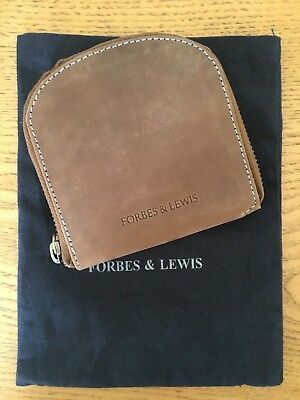 FORBES & LEWIS Taupe Small Zip Around Leather Card Coin Wallet