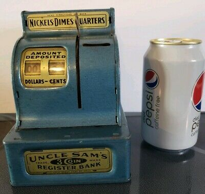 UNCLE SAM'S 3 Coin Cash Register Bank  New Jersey Durable Toy & Novelty works *B