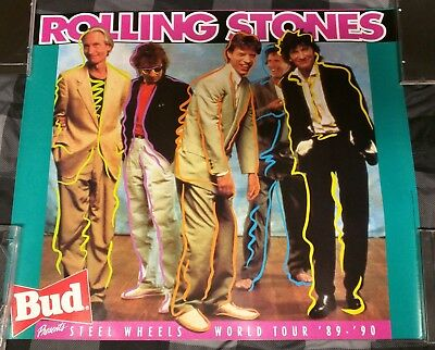 Budweiser Beer / 1990 Rolling Stones Steel Wheels Tour Poster Man Cave Mint
