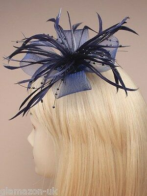 Fascinator Navy Net Ribbon and Feather on a forked clip and brooch pin Free Post