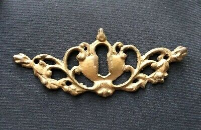 Antique ORNATE Solid Brass Skeleton Key Hole Plate Cover Hardware Vintage
