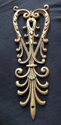 Antique Early 1900's Solid Yellow Brass Ornate Fancy Emblem Furniture Hardware