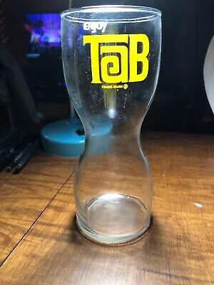 "Enjoy ""Tab"" Soda Pop Hourglass Shaped Drinking Glass Vintage 1970'S"