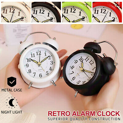 Alarm Clock Loud Clocks Twin Bell  Silent Vintage Retro Battery Metal Analogue