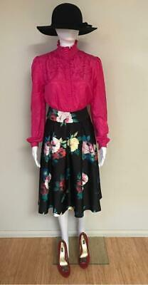 Vintage Syndicate Boutiques Bright Magenta Pink Long Sleeve Shirt Blouse Size 12