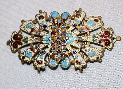antique ornate Victorian 1800's hand made enameled gold gilt 2 piece belt buckle