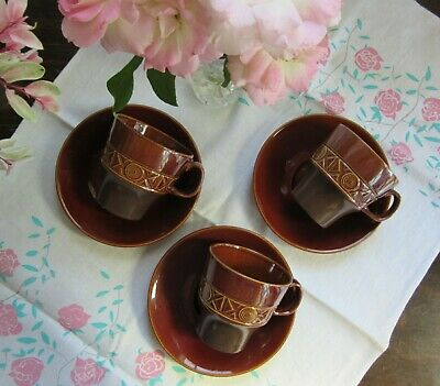 Retro BESWICK Cups Saucers Duo x 3 vintage