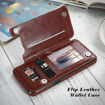 Magnetic Leather Wallet Case Card Slot Shockproof Flip Cover for Samsung Galaxy