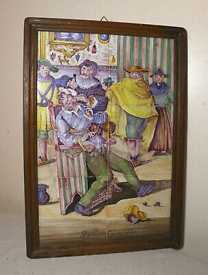 6 antique hand painted French figural barber scene wall pottery tile painting