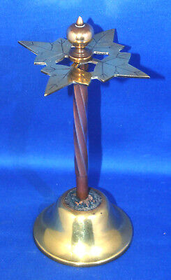 An unusual antique Victorian brass shop hatpin stand, ivy leaf top, very robust!