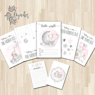 Baby Milestone Cards, Baby Girl Moments and Milestones, Elephants, Clouds, stars