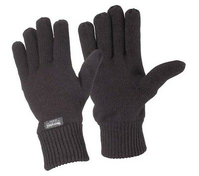 Rag Wool Knitted Gloves Black One Size Very Warm Thermal 3M Thinsulate Lined