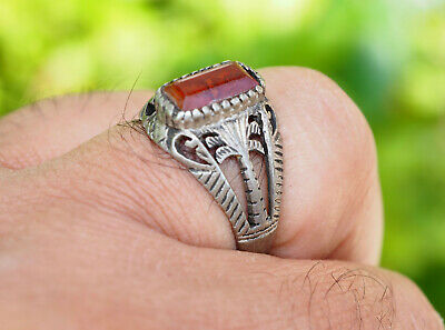 orient silber Ring Karneol Afghan statement aqeeq ring aus Afghanistan Nr-19-232