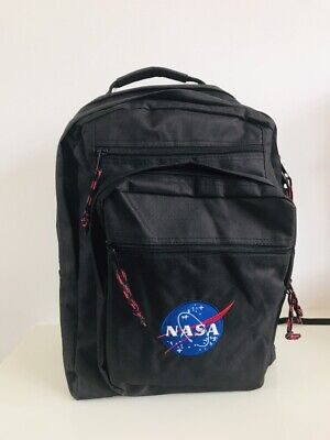 Nasa Black Backpack Rucksack Space Astronaut Satchel 20""