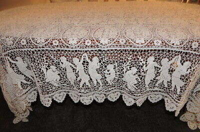 Antique Rare White Huge Hand Made Figural Venetian Lace Tablecloth Bedspread Old