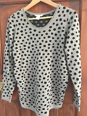 H&M Mama maternity jumper, grey with black spots, size small