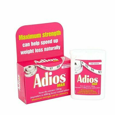 Adios Max Maximum Strength Herbal Slimming Weight Loss - 100 Tablets