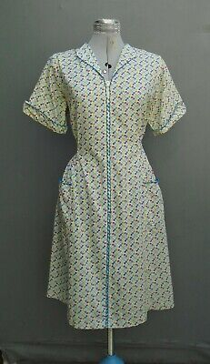 Original Vintage Dress 1950s 40s Sun Dress Printed Cotton Floral Zip Volup L