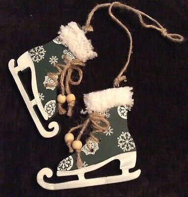 Pair Of Wooden Ice Skate Xmas Tree Decoration-Rustic-Vintage-Victorian-Green