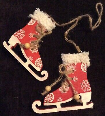 Pair Of Wooden Ice Skate Xmas Tree Decoration-Rustic-Vintage-Victorian-Red