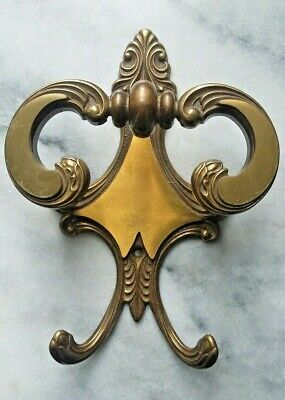 French Brass Double Coat Hat Hook Original Two Tone Finish Vintage or Antique
