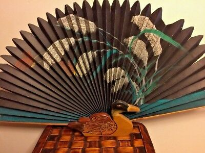 Antique Vintage Chinese Scroll Painting Duck Mallard Rose Chinese Fan Rare