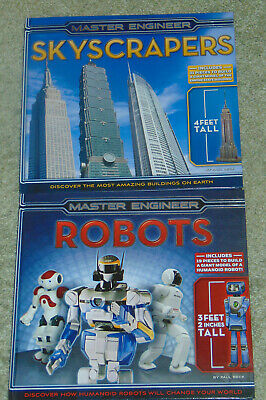 Master Engineers 2  Kids HC Books SKYSCRAPERS & ROBOTS w 3 & 4 ft Models to Make