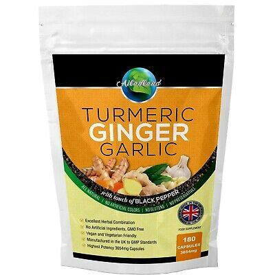 Ginger Turmeric Garlic With Black Pepper 3654mg Capsules Pack of 120 made in UK