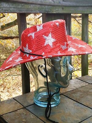 Rubies Costumes RED COWGIRL COWBOY HAT with SILVER STARS Womens Sz OS tb2-18