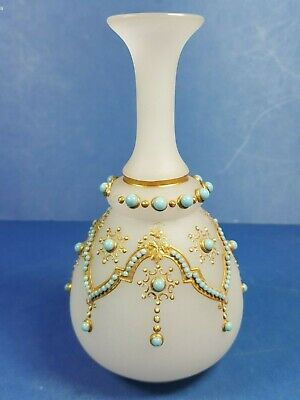 "Lovely Vintage Frosted Glass Bud Vase With Gilt & Turquoise Decoration 6"" Tall"