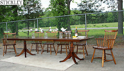 Stunning 11pc STICKLEY Cherry Dining Room Set Farm Table 6 Chairs 4 Leaves!
