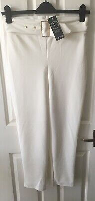 70ff367943 BooHoo Petite White Amira Belted High Waisted Cigarette Trousers Size 12