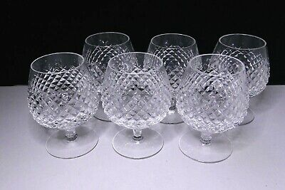 """6 WATERFORD CRYSTAL """"ALANA"""" BRANDY / SNIFTER GLASSES WITH ORIGINAL BOX - 1950's"""
