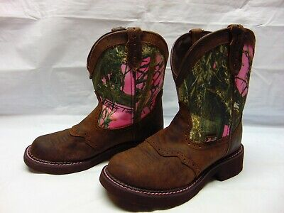 dcc7e55a5fed3 Justin Gypsy L9610 Women's 7 B Brown Leather & Camo Fatbaby Cowgirl Western  Boot