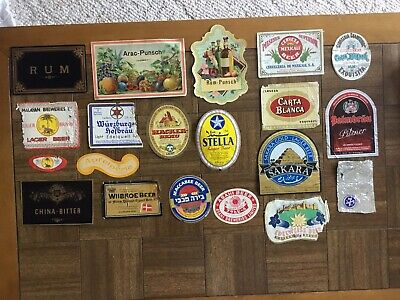 VINTAGE LOT OF 16 IMPORTED / FOREIGN BEER LABELS Used And Unused & 3 Rum/Punsch