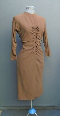 Original Vintage 1940s WW2 50s Dress Handmade Brown Rayon Wiggle Skirt Pin Up XS