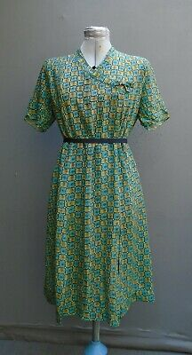 Vtg Dress 1950s 40s WW2 Printed Handmade Crepe De Chine Atomic Print Volup L