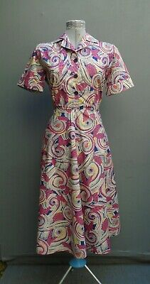 Original Vtg Dress 1940s WW2 50s Printed Cotton Atomic Shirtwaister CC41 Era M