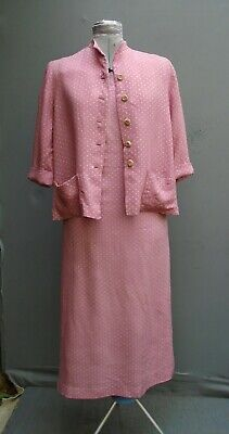 Original Vtg 1950s 40s WW2 Dress Suit Jacket Pink Spotty Linen Rayon 2 Piece S