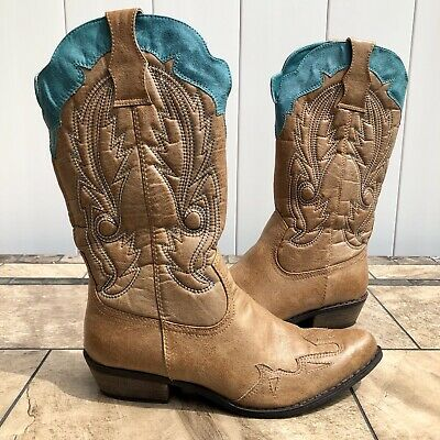 dd26cf7cf208 Womens Coconuts Cimmaron Western Boots Size 7.5 M WORE ONCE Brown Turquiose