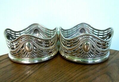 2 Antique Silver Plated Bottle Stands/Holders/Coasters Turned Wood Bases, Vgc