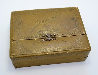 Antique SOUVENIR Lovely Shamrocks Victorian JEWELLERY BOX / CASE - By Grossmith