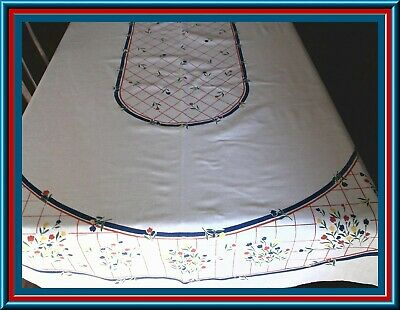 Lovely Top Quality Print Oval Tablecloth With Tulips Design - 82X60