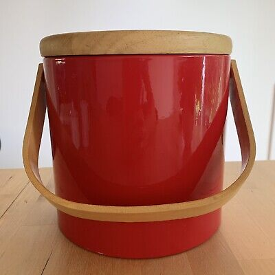 Georges Briard Ice Bucket Red Vinyl with Wood Handle Top MCM Mod 1960s-70s USA