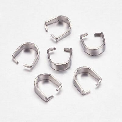 Bead Findings - 8x7x3mm 304 Stainless Steel  Snap On Bail  -  10 Pcs
