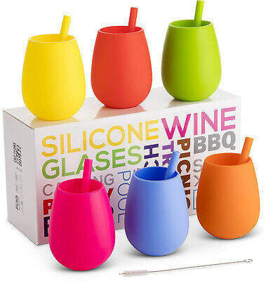 Silicone Wine Glasses Set of 6 with Matching Straws - Party Pack