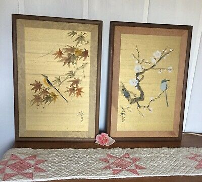 Lot of 2 Pair Vintage Antique Old Japanese Silk Painting Bird Tree Signed Framed