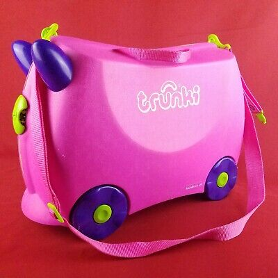 Melissa Doug Trunki Ride-On Traveling Suitcase Luggage Pink Sit Carry On Tow Bag