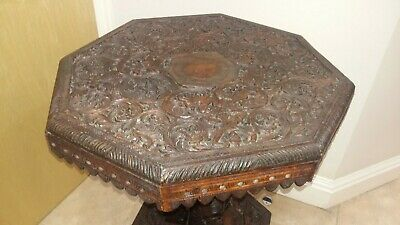 Antique rare hand carved Asian wooden occasional table Buddha - Indian / Burmese
