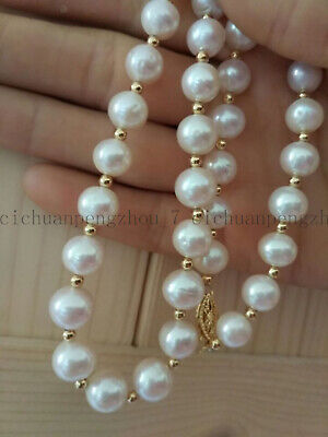 Huge 10-11Mm Round South Sea White Real Pearl Necklace 18'' Aaa 14K Gold Clasp